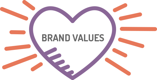 brand values in a heart